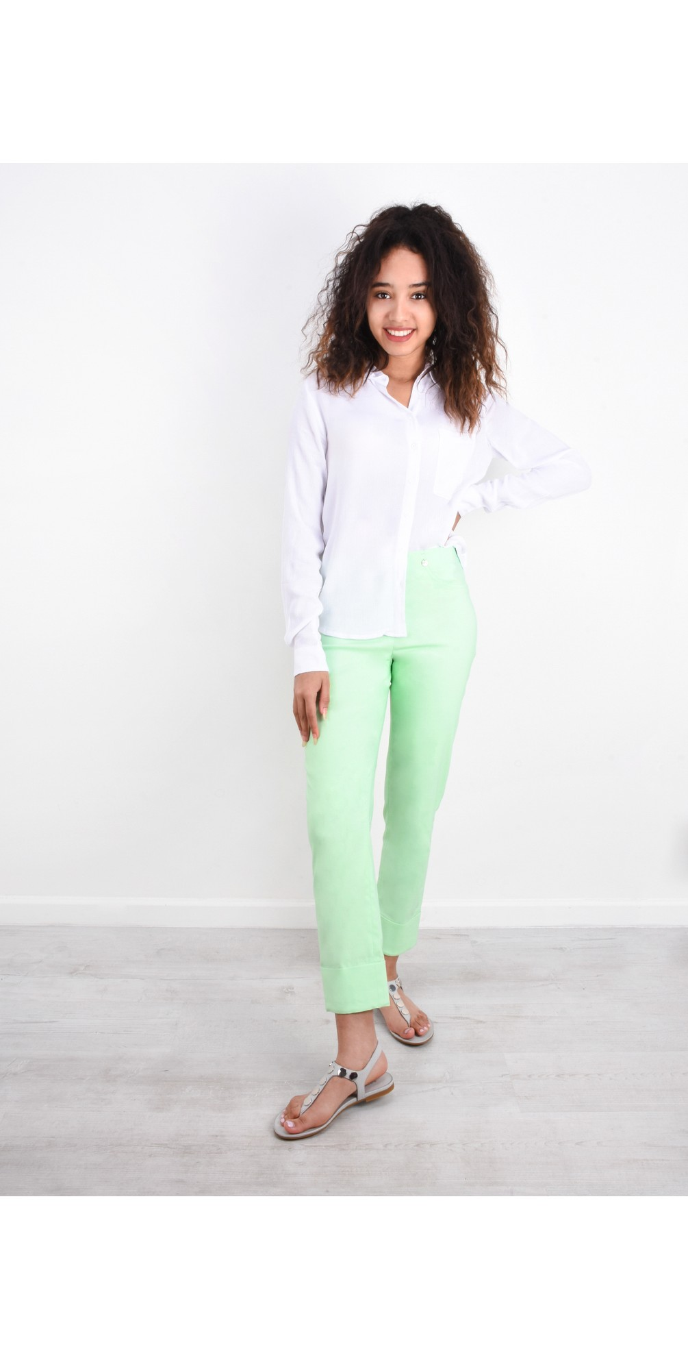 Bella 09 Pale Lime Ankle Length Crop Cuff Trouser main image