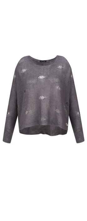 Grizas Kasja Oversized Linen Knit Jumper With Holes Light Grey