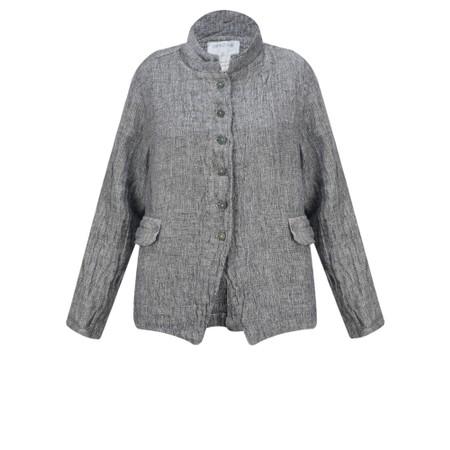 Grizas Olga Short Button Front Linen Jacket - Grey
