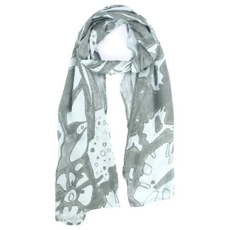 Grizas Katya Printed Linen Scarf - Grey