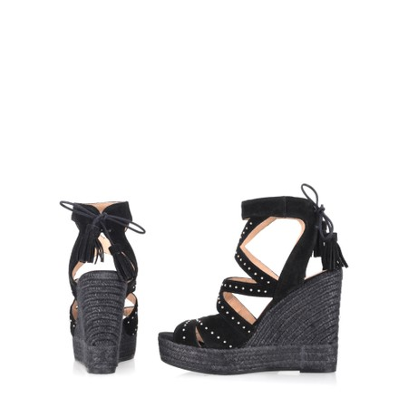 Kanna Sofia Basket Wedge Sandal - Black