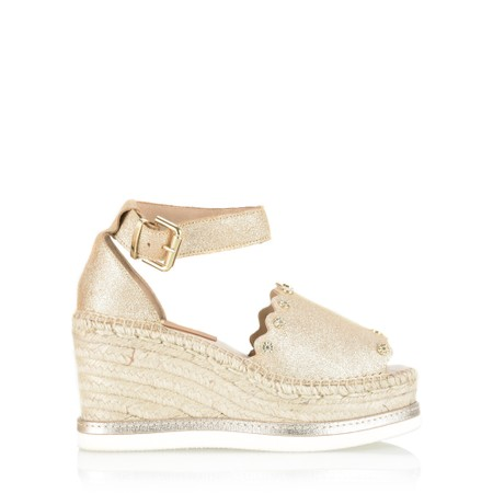 Kanna Chianti Espadrille Wedge Sandal - Gold