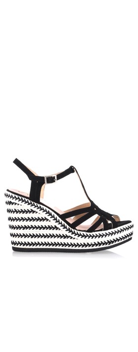 Kanna Coral Wedge Sandal Nero Black