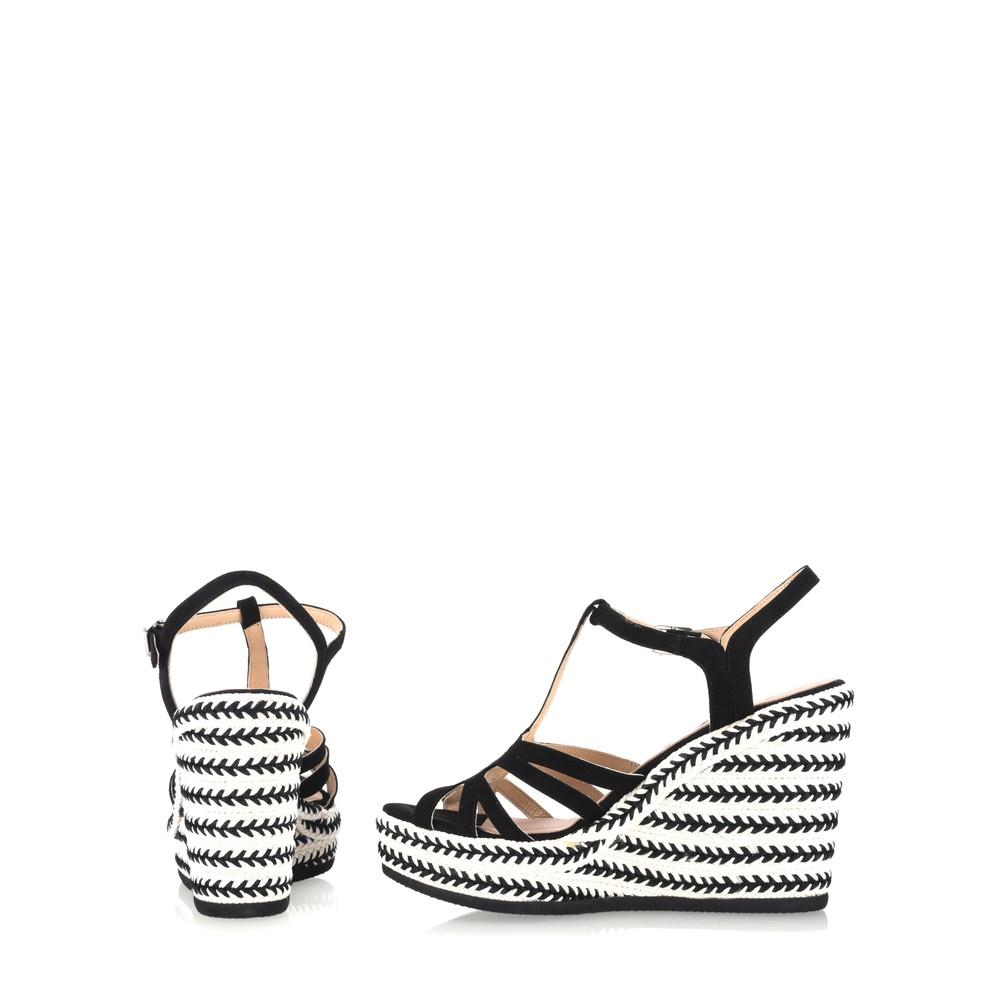 Kanna Coral Wedge Sandal Nero Black