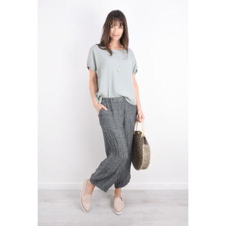 Grizas Irina Cap Sleeve Front Seam Top - Grey