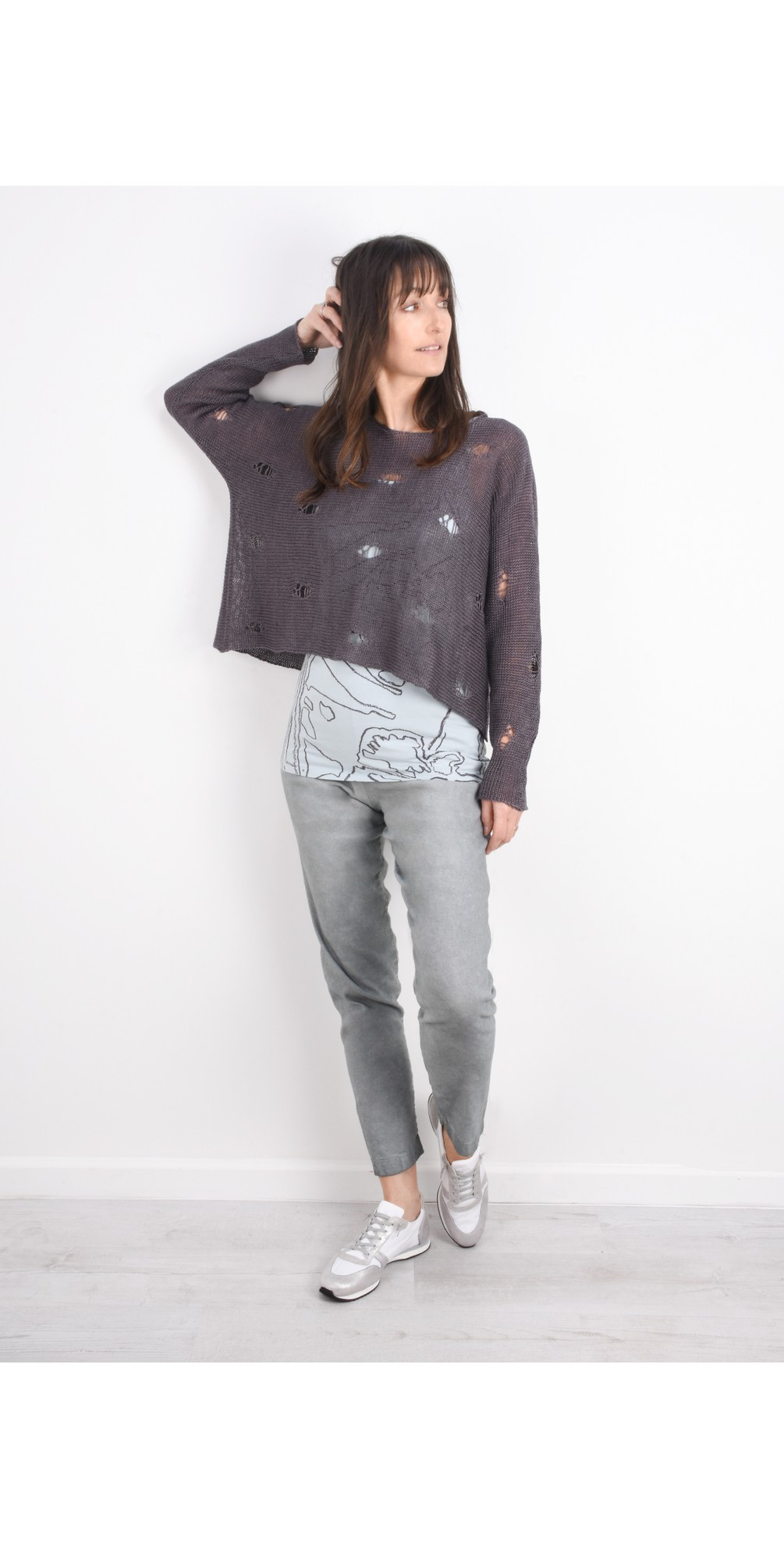 Kasja Oversized Linen Knit Jumper With Holes main image