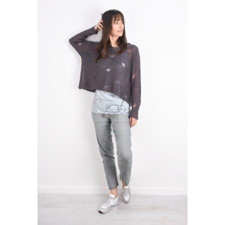 Grizas Kasja Oversized Linen Knit Jumper With Holes - Grey