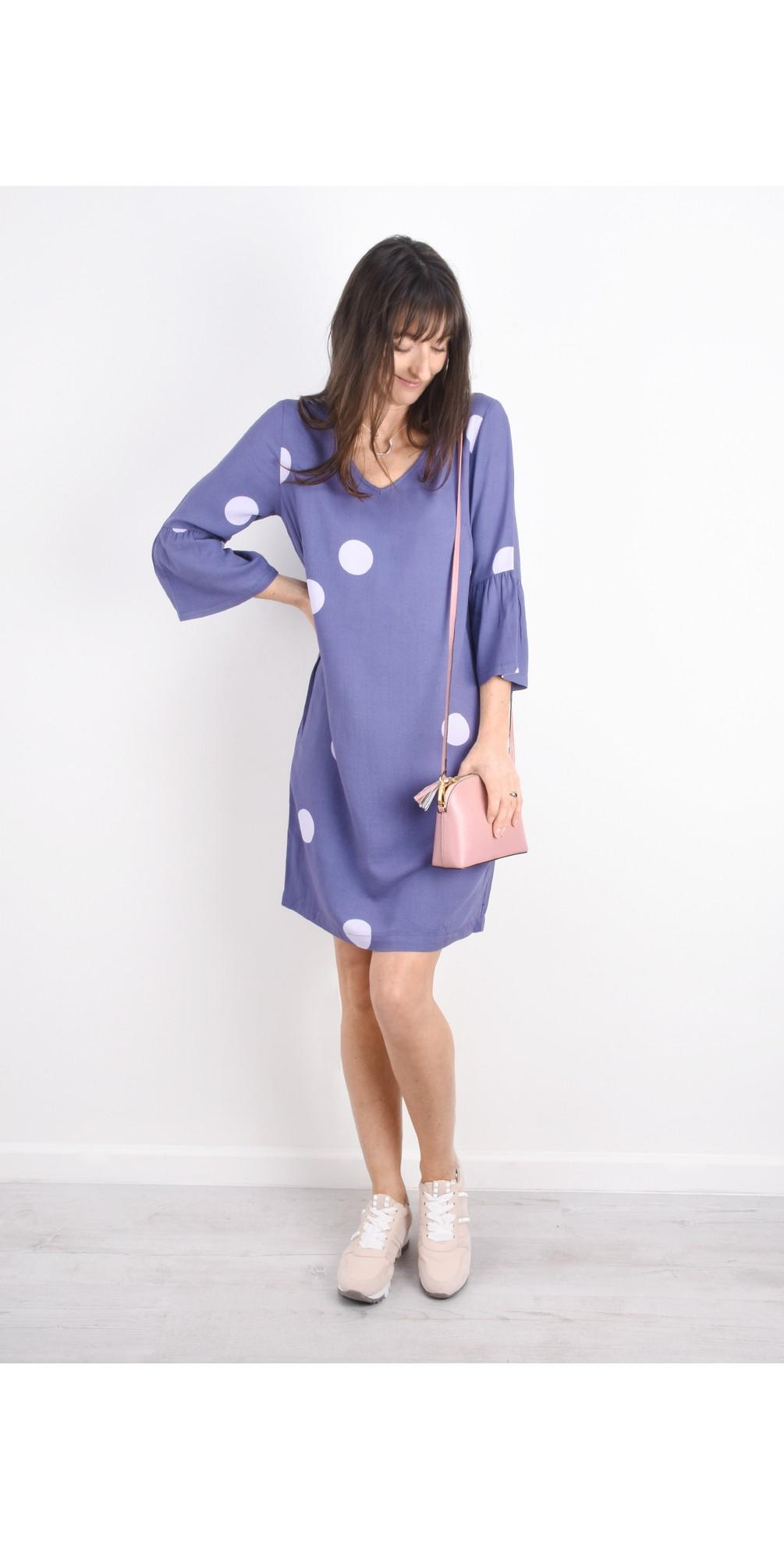 Large Dot Frill Sleeve Dress main image