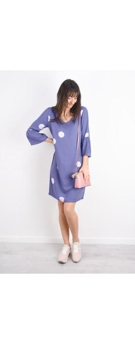 Sandwich Clothing Large Dot Frill Sleeve Dress Grey Lilac