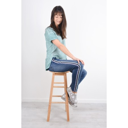 Sandwich Clothing Rainbow Stripe Jean - Blue