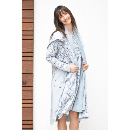 Grizas Agnese Printed Jersey Hooded Coatigan - Grey