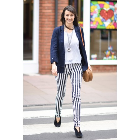 Sandwich Clothing Stripe Printed Trouser - Blue