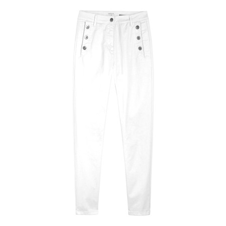 Sandwich Clothing Stretch Twill Cropped Button Detail Trousers - White