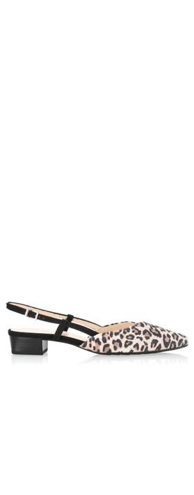Peter Kaiser Claudia Leopard Suede Slingback Kitten Heel Mauve/Black