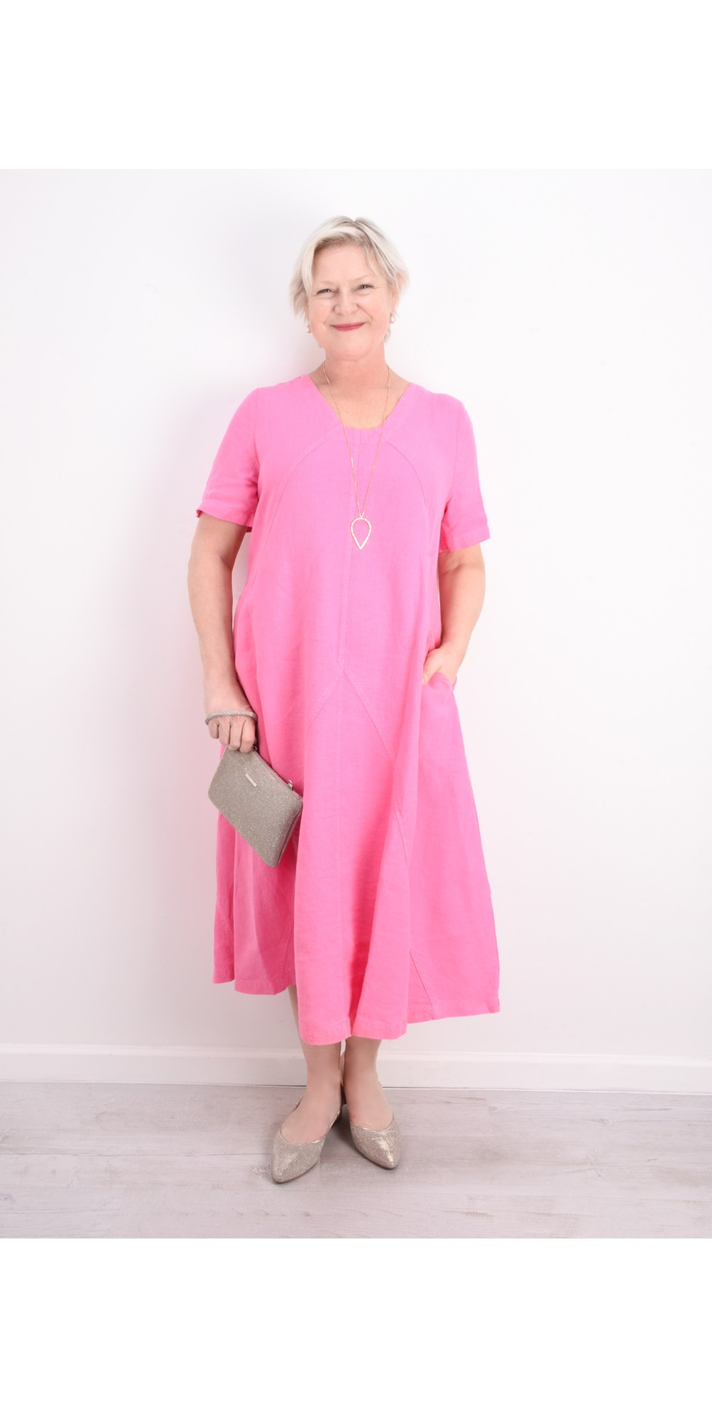 Panelled A-Line Linen Dress main image