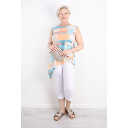 Foil Sliding Scale Block Print Linen Top - Multicoloured