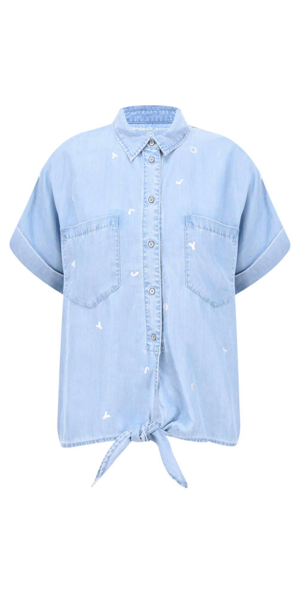 85e45bd605 Sandwich Clothing Denim Tie Waist Joy Blouse in Light Blue Denim