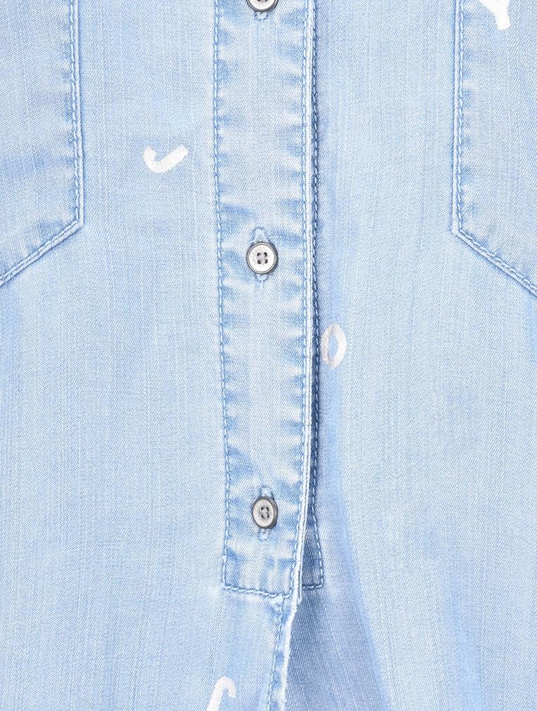 45f65f4ebd Sandwich Clothing Demin Tie Waist Joy Blouse in Light Blue Denim