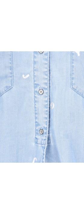 7d2176d3c1 Sandwich Clothing Denim Tie Waist Joy Blouse Light Blue Denim. undefined