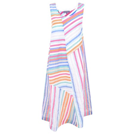 Sahara Stripe Linen Sleeveless Dress - Multicoloured