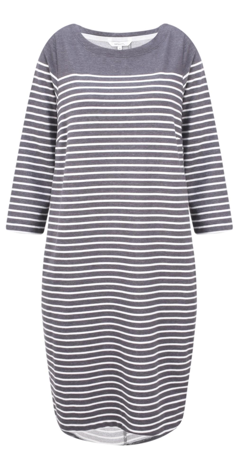 Stripe Print French Terry Dress main image