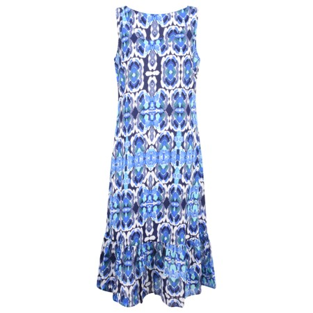 Adini Kiribati Print Kiribati Dress - Blue