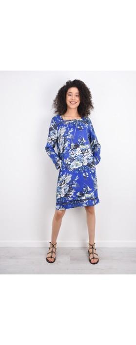 Masai Clothing Floral Nasira Dress Greek Blue Org