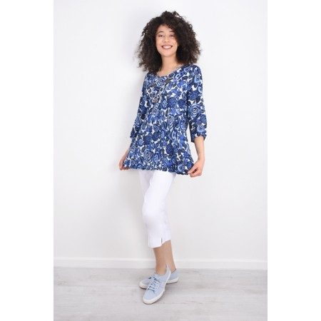 Masai Clothing Floral Print Kiwi Top - Blue