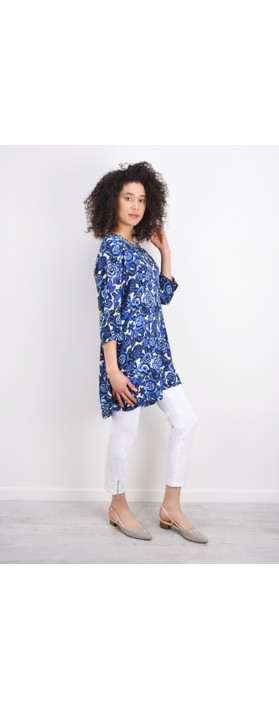 Masai Clothing Floral Print Garnette Tunic Dress  Greek Blue Org