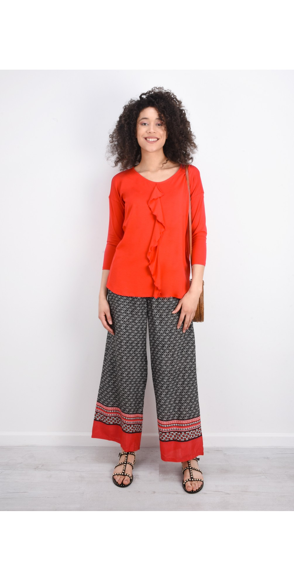 Perinus Abstract Print Trouser With Border  main image