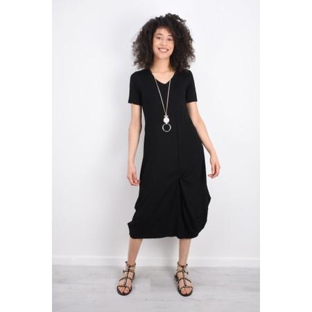 Foil Soft Focus Twist Front Dress - Black