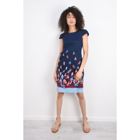 Foil Printed Sail Away Dress - Blue