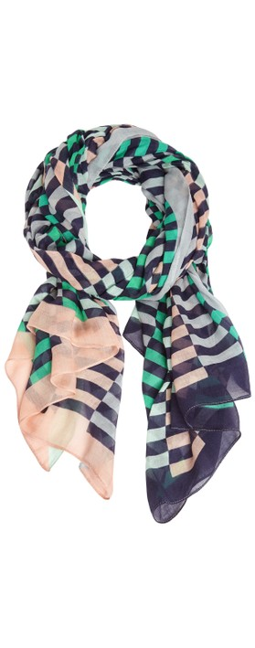 Sandwich Clothing Distorted Stripe Scarf Navy
