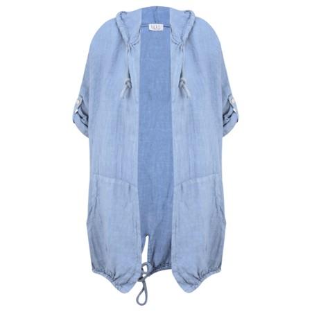 Arka Jana Easyfit Hooded Linen Jacket - Blue