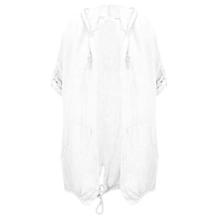 Arka Jana Easyfit Hooded Linen Jacket - White