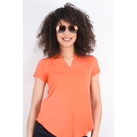 Foil Soft Focus V-neck Top - Orange