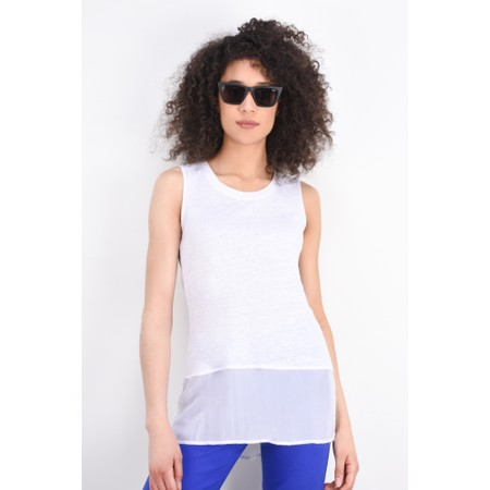 Foil Layered Sleeveless Top - White