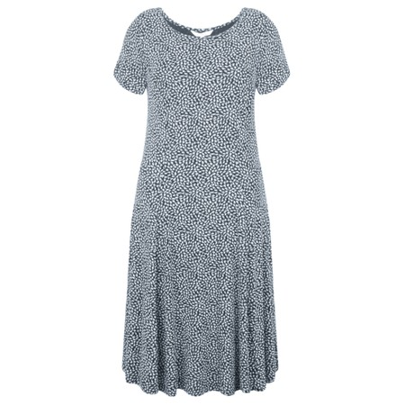 Sandwich Clothing Fit and Flare Dotted Flower Dress - Blue