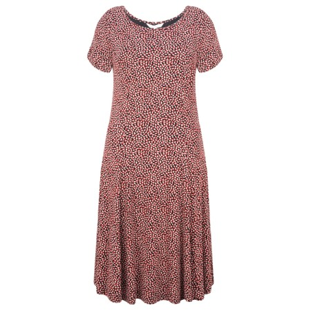 Sandwich Clothing Fit and Flare Dotted Flower Dress - Pink