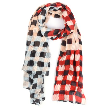 Sandwich Clothing Checked Print Viscose Scarf - Red