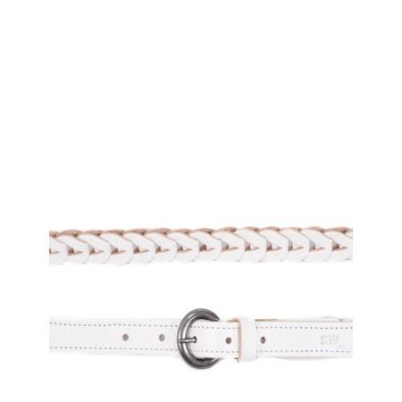Sandwich Clothing Leather Plait Belt - White