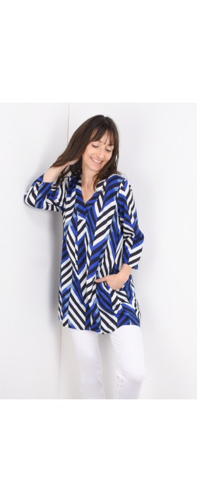 Masai Clothing Chevron Print Gelsa Tunic Greek Blue Org