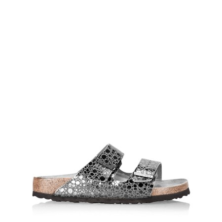Birkenstock Arizona Birko Flor Metallic Snakeskin Sandals - Black