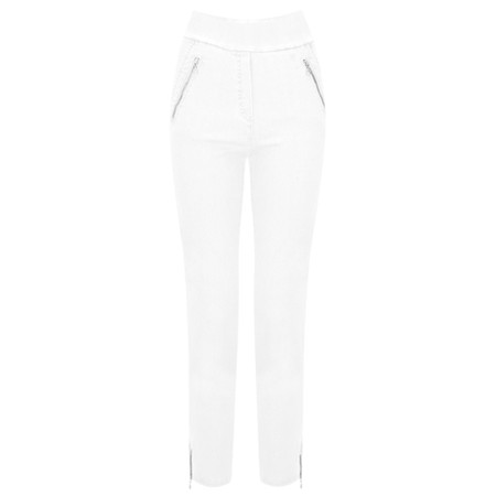 Robell Nena 09 White Ankle Zip Cropped Powerstretch Jean - White