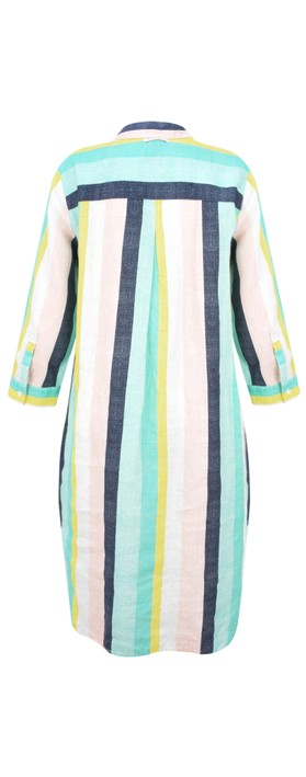 Sandwich Clothing Bold Stripe Linen Shirt Dress Pastel Jade