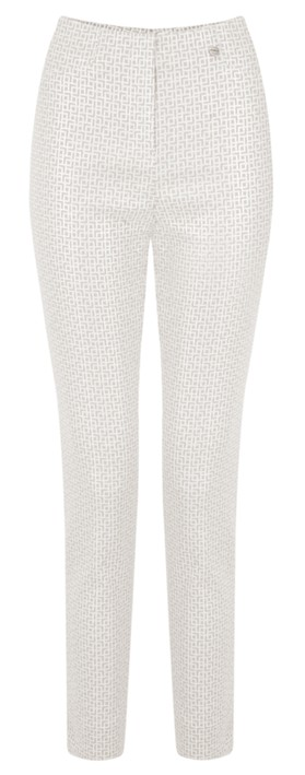 Robell Trousers Rose 09 7/8 Geometric Print Cropped Trouser Beige