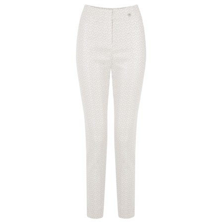 Robell Trousers Rose 09 7/8 Geometric Print Cropped Trouser - Beige