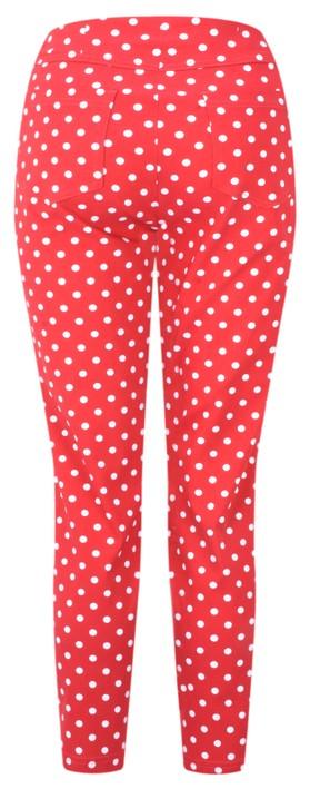 Robell Trousers Bella 09 Polka Dot Print Trouser Red