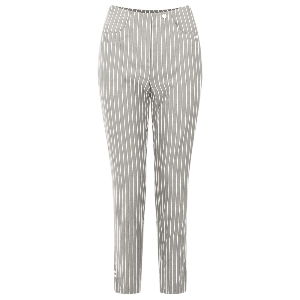 Robell Bella 09 Pin-Stripe Cropped Trouser Taupe