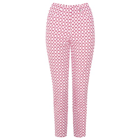 Robell Trousers Bella 09 Geometric Print Cropped Trouser - Pink